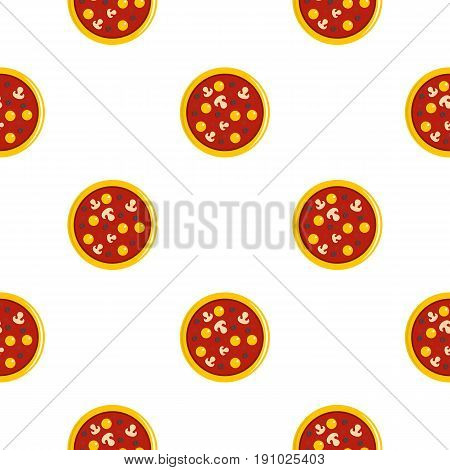 Pizza with egg yolk, olives, mushrooms and tomato sauce pattern seamless flat style for web vector illustration