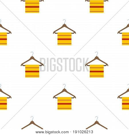 Yellow scarf on wooden coat hanger, pattern seamless flat style for web vector illustration