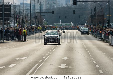 BERLIN - APRIL 02 2017: The annual 37th Berlin Half Marathon. Ensuring public order.
