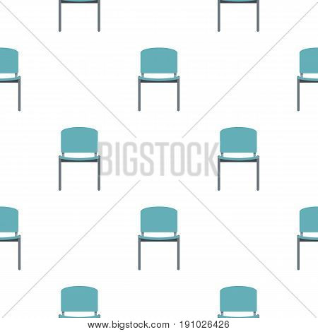 Blue office metal chair pattern seamless flat style for web vector illustration