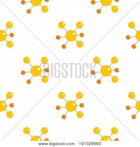 Yellow molecular model pattern seamless flat style for web vector illustration