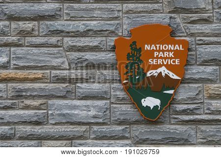Cherokee United States: April 16 2017: National Park Service Sign With Copy Space to Left