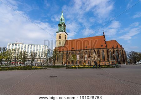 BERLIN - APRIL 02 2017: St.Mary's Church (Marienkirche). The oldest active evangelical church in Germany.