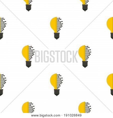Lightbulb with microcircuit pattern seamless flat style for web vector illustration