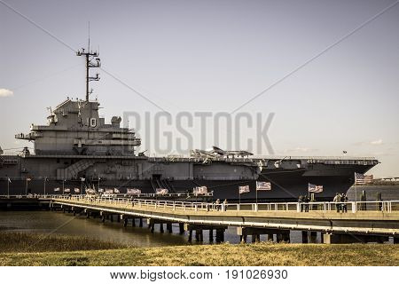 Mount Pleasant, South Carolina, USA - February 8, 2016: The USS Yorktown is a retired US Navy World War II aircraft carrier that now is open to the public as a museum.