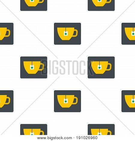 Yellow tea cup with teabag pattern seamless flat style for web vector illustration