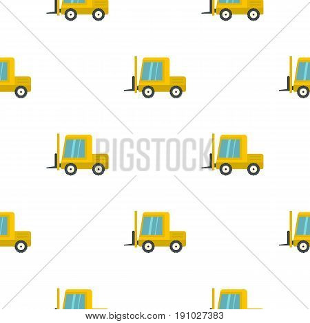 Yellow stacker loader pattern seamless flat style for web vector illustration