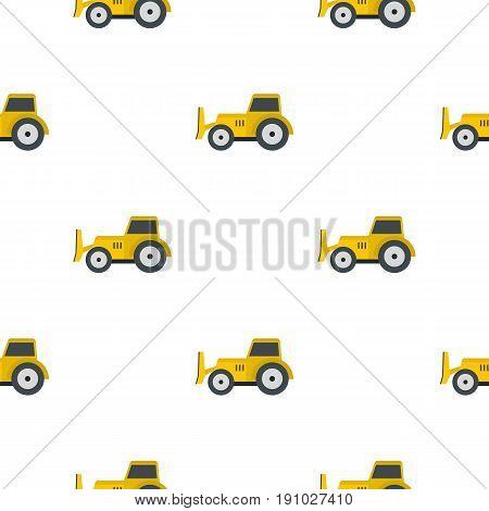 Skid steer loader bulldozer pattern seamless flat style for web vector illustration