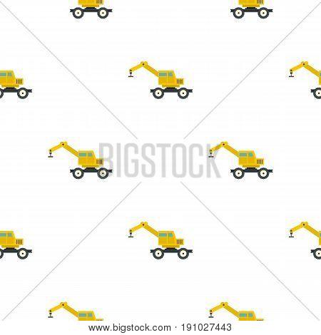 Crane truck pattern seamless flat style for web vector illustration