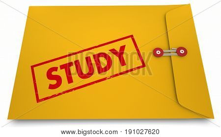 Study Results Envelope Findings Stamp Word 3d Illustration