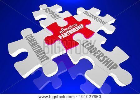 Effective Partnership Puzzle Pieces Leadership Cooperation 3d Illustration