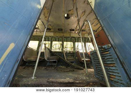 Seats Inside Abandoned Trolley Car