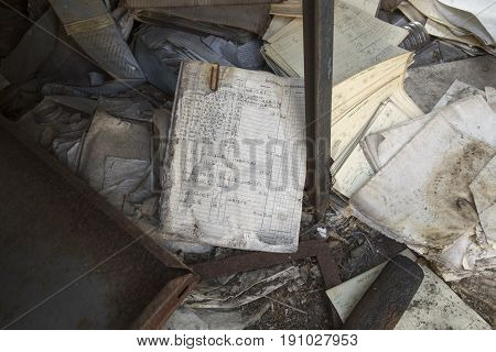 Damaged Office Forms On Floor