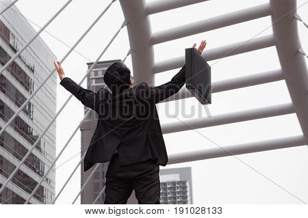 Businessman Happy And Raise Hand For Success Concept, Back View