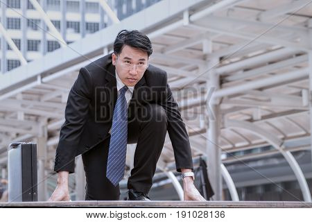 Asian Businessman Wearing Glasses Start, And Determined To Start Now Or Ready For The Start
