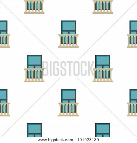Classic balcony balustrade with window pattern seamless flat style for web vector illustration