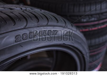 Car Tire Size For Sale Represents The Dimensions And Cnostruction Type Of Tyre Show On Background