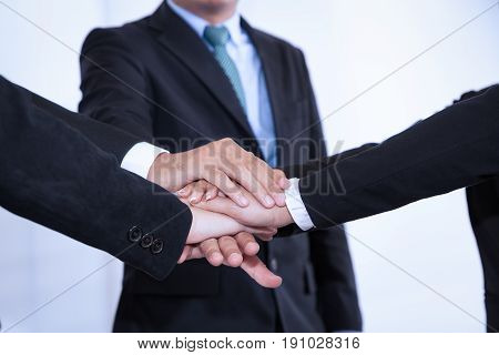 Business People Join Stack Hand While Meeting In Office As Team Teamwork Togetherness Collaboration