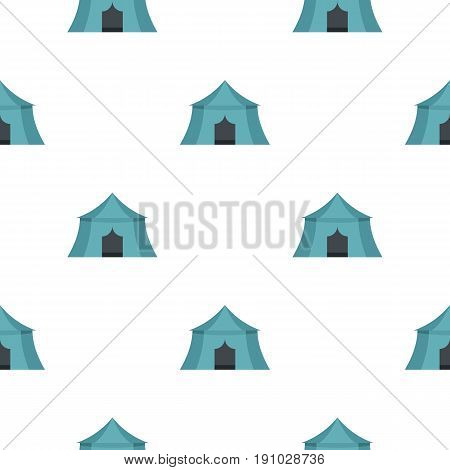 Blue tourist tent for travel and camping pattern seamless flat style for web vector illustration