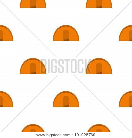 Orange tourist tent pattern seamless flat style for web vector illustration