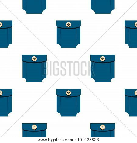 Blue shirt pocket with button pattern seamless flat style for web vector illustration