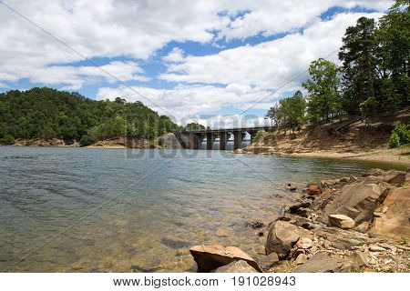 View of the dam at Broken Bow Lake in Oklahoma.