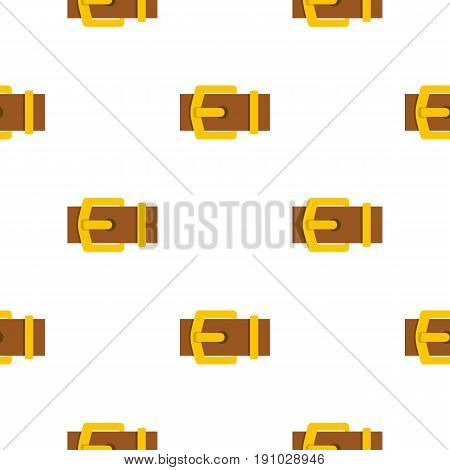 Yellow metal belt buckle pattern seamless flat style for web vector illustration