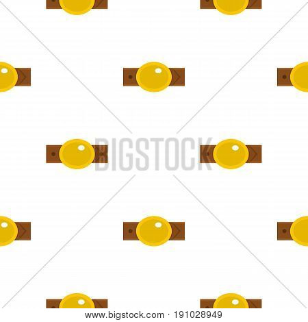Belt with gold oval shaped buckle pattern seamless flat style for web vector illustration