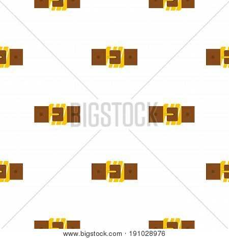 Brown leather belt with gold square buckle pattern seamless flat style for web vector illustration