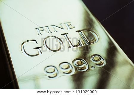 Gold Bar Close Up High Quality Stock Photo