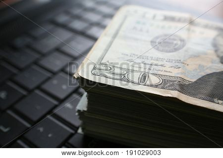Online Money Close Up High Quality Stock Photo