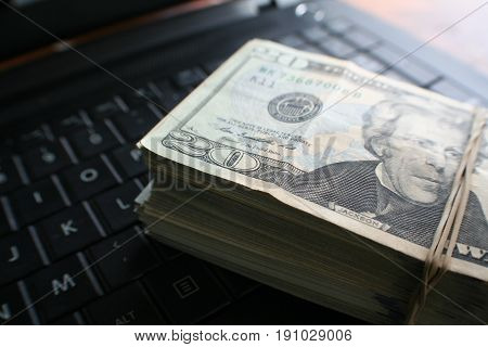 Money On Keyboard Stock Photo High Quality