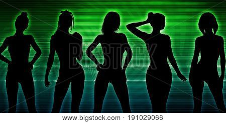 Beach Party Silhouette of Women Standing in Bikinis 3d Illustration Render