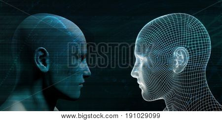 Online Personality with Physical Human and Digital Avatar 3d Illustration Render