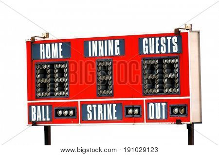 Baseball scoreboard and sky for game day sports competition