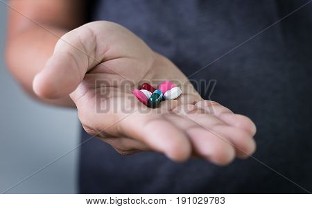 Man  Hand Show , Palm Or Fingers Drug  Medicine Or Capsules Prescription For Treatment Medication Ph