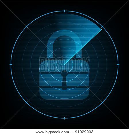 Technology Digital Future Abstract Radar Screen Cyber Security Lock Background
