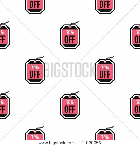 Sale tag 75 percent off pattern seamless flat style for web vector illustration