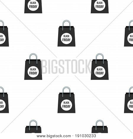 Black Friday bag pattern seamless flat style for web vector illustration