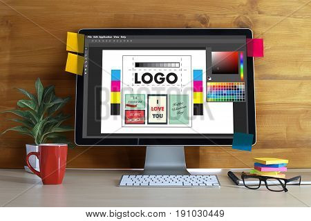 Creative Designer Graphic At Work. Color Swatch Samples, Illustrator Graphic Designer Working Digita