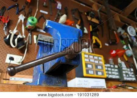 Blue Vise In A Workshop