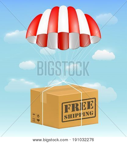 free shipping package carton box with parachute