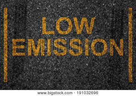 Reserved Car Park Slot With Paint Text Word Low Emission, Battery Motor Driving Stop Space