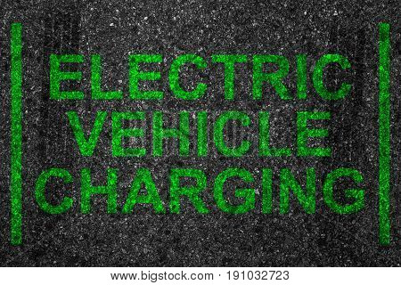 Reserved Car Park Slot With Paint Text Word Electric Vehicle Charging, Battery Motor Driving Stop Sp