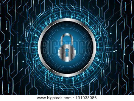 Technology Digital Future Abstract Cyber Security Lock Circle Background