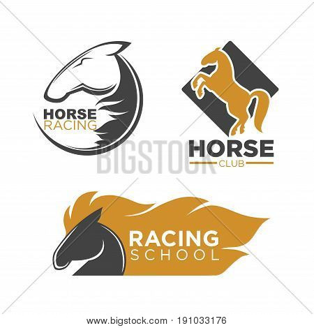Horse racing professional club and school for beginners logotypes with horses profile black outline, head with long blond mane and in full length isolated vector illustrations on white background.