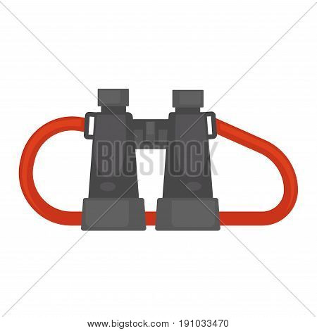 Pair of binoculars in black plastic corpus with red rope for convenient carrying on neck isolated cartoon vector illustration on white background. True travellers equipment for country exploration.