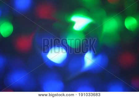 Beautiful heart bokeh background , Blinking heart shaped lights , Concept  Valentine day , love