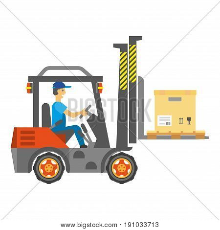 Worker man driving service vehicle with carton boxes. Vector colorful illustration in flat design of isolated male person sitting and operating special automobile that transports various products.