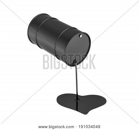 3d rendering of a black oil barrel leaking oil and making a heart shape isolated on white background. Oil and gas industry. Money down the drain. Counting profits.